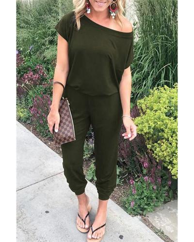 Armay green Slant shoulder short sleeve pockets women's jumpsuit