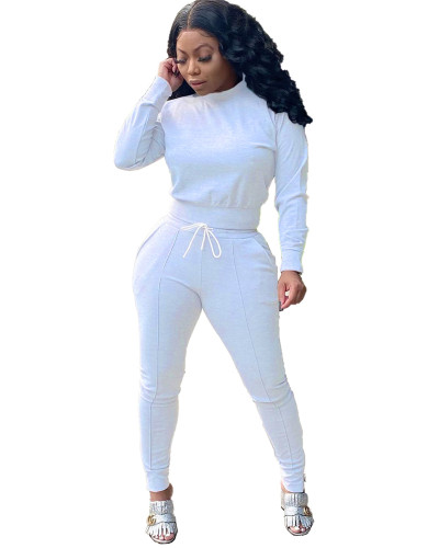 White Two-piece casual solid color ankle zipper set