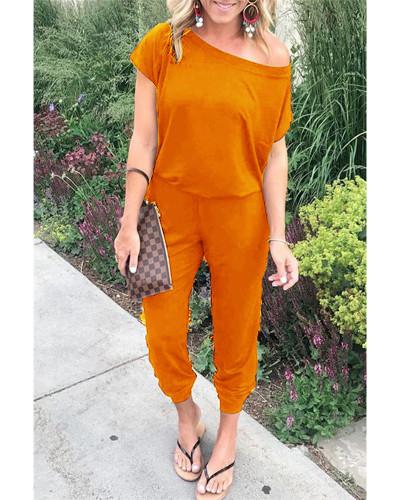 Orange Slant shoulder short sleeve pockets women's jumpsuit