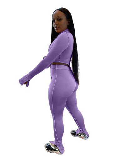 Purple Pure color sexy split two-piece suit