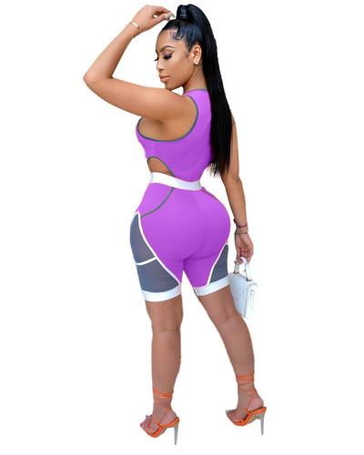 Purple Stitching skinny casual sports sexy jumpsuit