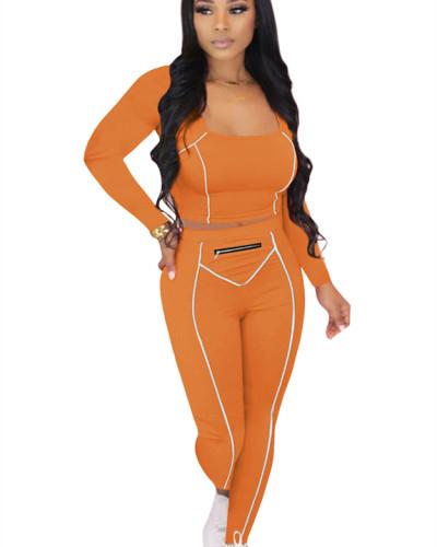 Orange Striped Zipper Long Sleeve Multicolor Suit