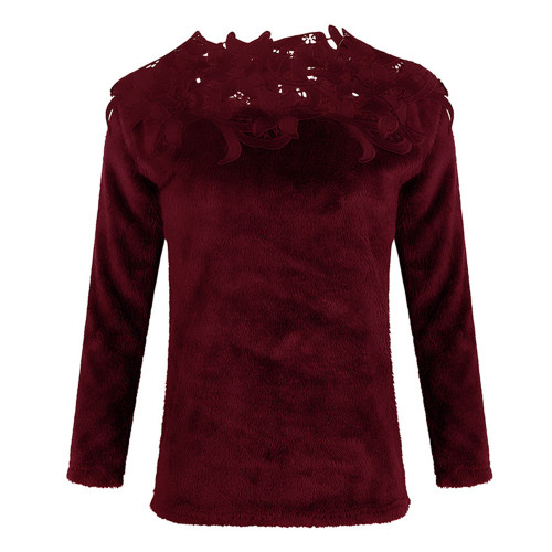 Claret Solid color stitching lace long-sleeved sweater