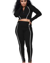 Black Solid color multicolor reflective strip long sleeve suit
