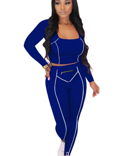 Blue Striped Zipper Long Sleeve Multicolor Suit