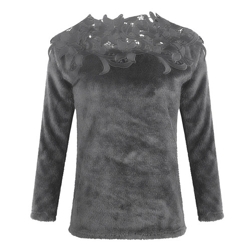 Dark gray Solid color stitching lace long-sleeved sweater