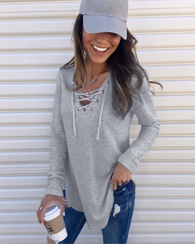 Gray Solid color V-neck tie band loose top T-shirt