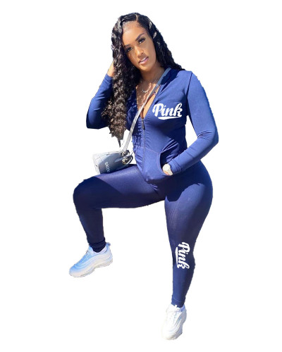 Blue English printed leisure sports two-piece suit
