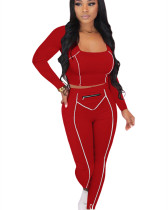 Red Striped Zipper Long Sleeve Multicolor Suit
