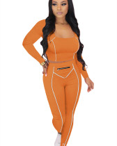 Orange Striped Zipper Long Sleeve Multicolor Suit