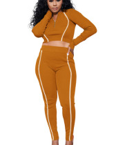 Yellow Solid color multicolor reflective strip long sleeve suit