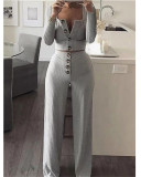 Gray Long Sleeve Cardigan Slim Buttoned Casual Suit