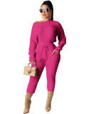 Rose Red Long sleeve pit strip multicolor suit