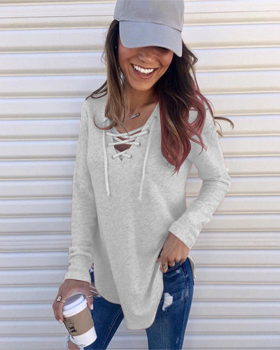 Light gray Solid color V-neck tie band loose top T-shirt