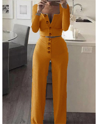 Yellow Long Sleeve Cardigan Slim Buttoned Casual Suit