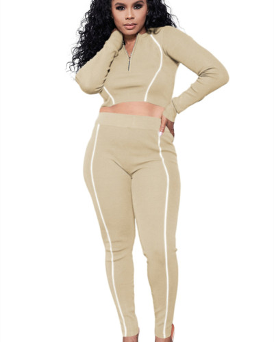 Apricot Solid color multicolor reflective strip long sleeve suit