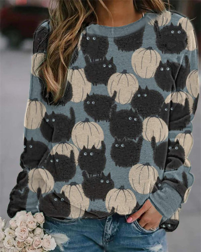 Blue Long-sleeved urban casual European and American printed sweater
