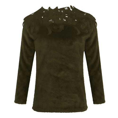 Army green Solid color stitching lace long-sleeved sweater