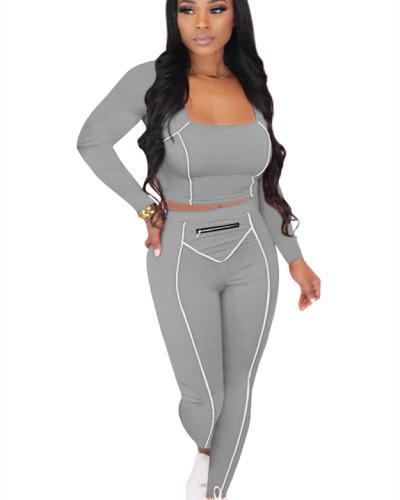 Gray Striped Zipper Long Sleeve Multicolor Suit