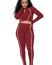 Red Solid color multicolor reflective strip long sleeve suit