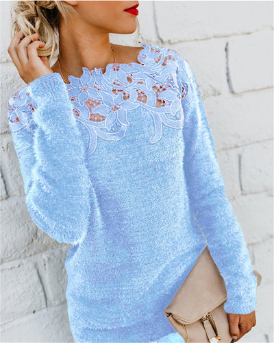 Bule Solid color stitching lace long-sleeved sweater