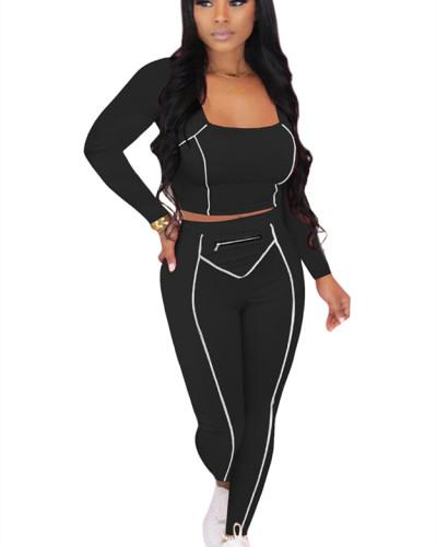 Black Striped Zipper Long Sleeve Multicolor Suit