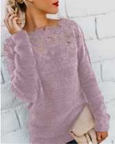 Violet Solid color stitching lace long-sleeved sweater