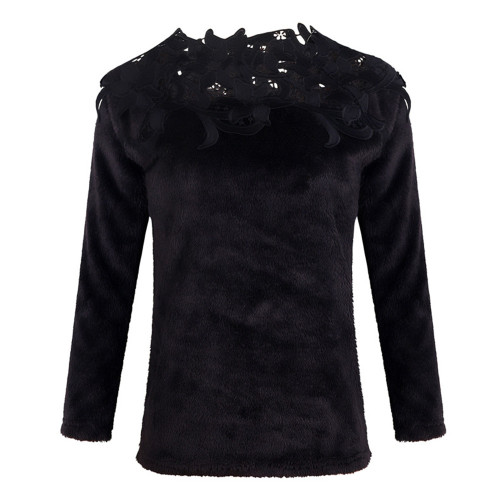 Black Solid color stitching lace long-sleeved sweater