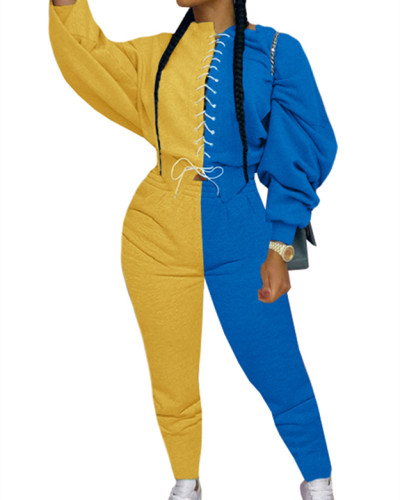 Yellow Fashion color matching suit