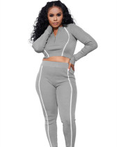 Gray Solid color multicolor reflective strip long sleeve suit