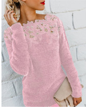 Pink Solid color stitching lace long-sleeved sweater