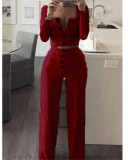 Claret Long Sleeve Cardigan Slim Buttoned Casual Suit