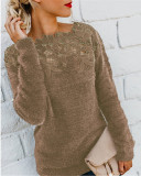 Coffee Solid color stitching lace long-sleeved sweater