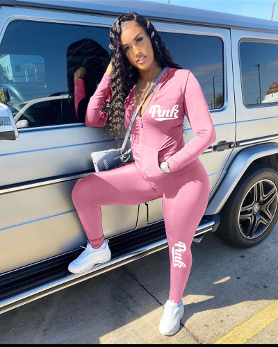 Pink English printed leisure sports two-piece suit