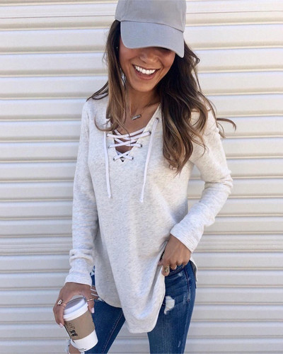 White Solid color V-neck tie band loose top T-shirt
