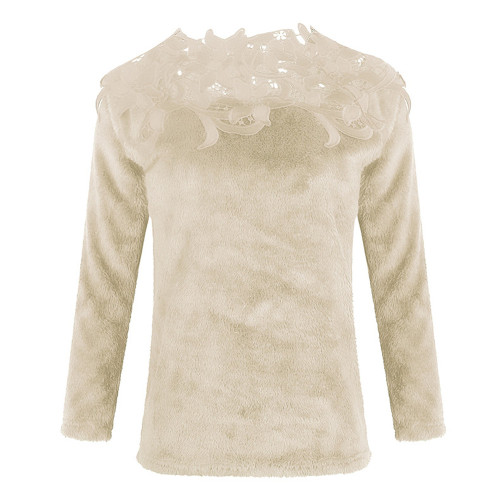 Khaki Solid color stitching lace long-sleeved sweater