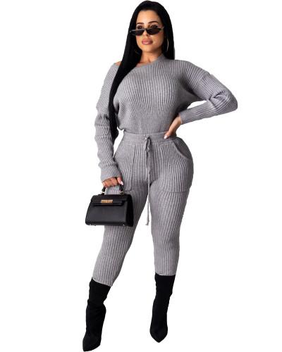 Gray Long sleeve pit strip multicolor suit