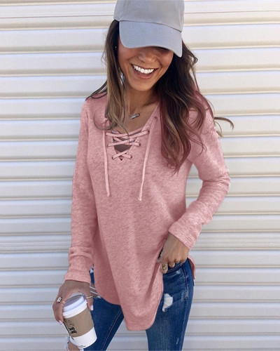 Pink Solid color V-neck tie band loose top T-shirt