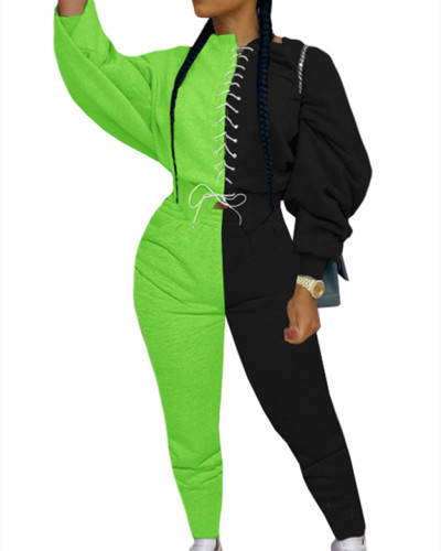 Green Fashion color matching suit