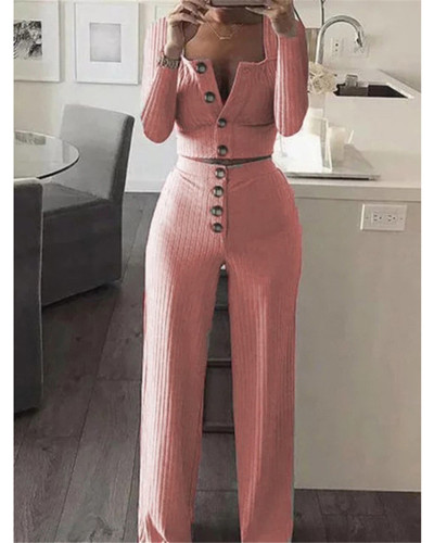 Pink Long Sleeve Cardigan Slim Buttoned Casual Suit