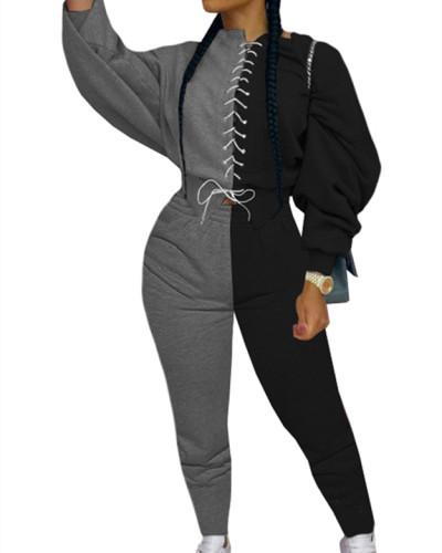 Black Fashion color matching suit