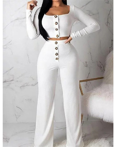 White Long Sleeve Cardigan Slim Buttoned Casual Suit