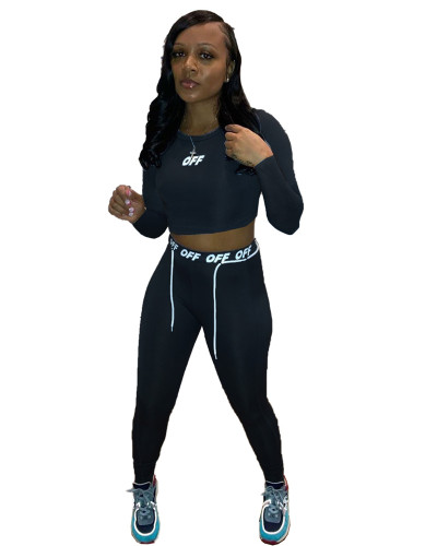 Black Personalized printed drawstring body sculpting sports two-piece suit