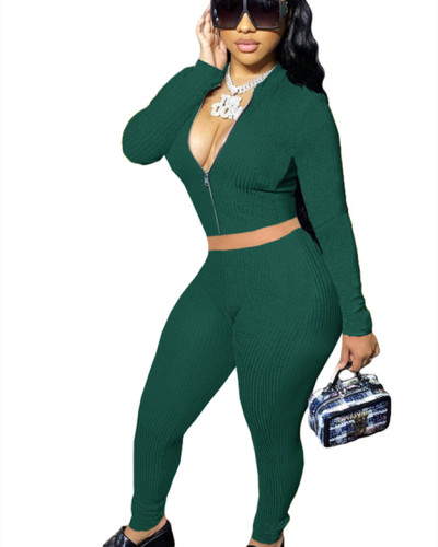 Green Solid color long-sleeved cordless suit