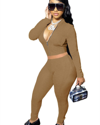 Khaki Solid color long-sleeved cordless suit