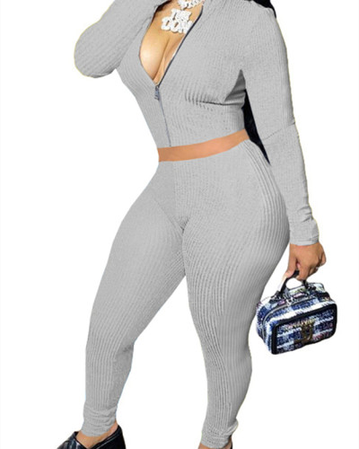 Gray Solid color long-sleeved cordless suit