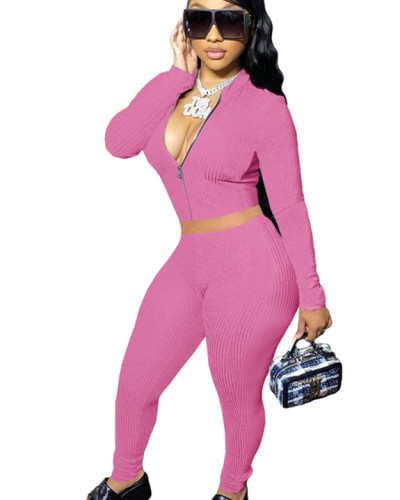 Pink Solid color long-sleeved cordless suit