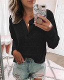 Black Solid color open button long-sleeved shirt T-shirt