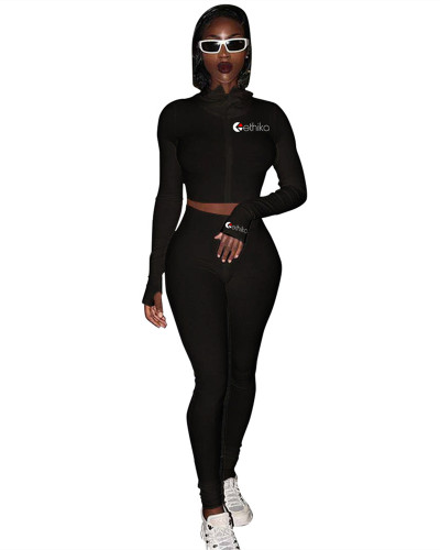 Black New embroidery slim sports suit
