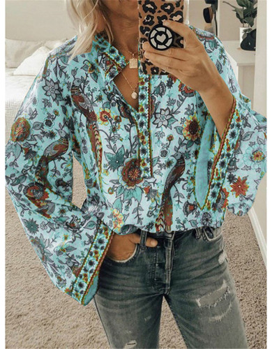 Green Peacock print loose shirt button long sleeve shirt